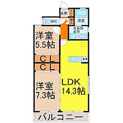 愛知県名古屋市中川区前並町の賃貸マンションの間取り