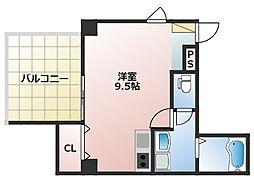 (仮)東中野3丁目新築マンション 4階ワンルームの間取り