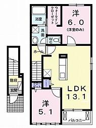 愛媛県松山市星岡5丁目の賃貸アパートの間取り