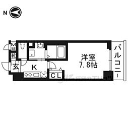 べラジオ京都西陣702 7階1Kの間取り