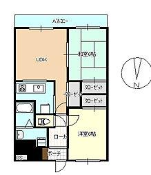 神奈川県茅ヶ崎市下町屋3丁目の賃貸マンションの間取り