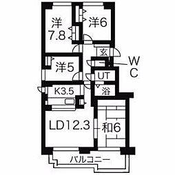 北海道札幌市豊平区月寒東一条15丁目の賃貸マンションの間取り