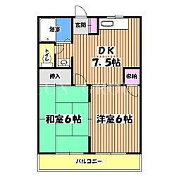 東京都昭島市上川原町3丁目の賃貸マンションの間取り