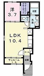 JR宇野線 備前西市駅 徒歩25分の賃貸アパート 1階1LDKの間取り