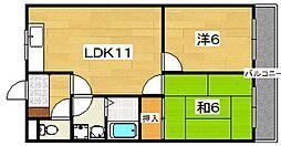 京都府八幡市男山長沢の賃貸マンションの間取り