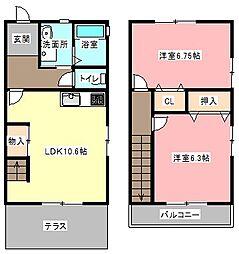 [テラスハウス] 静岡県浜松市中区和合町 の賃貸【静岡県 / 浜松市中区】の間取り