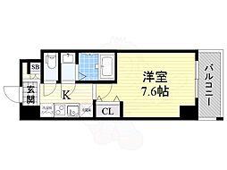 Osaka Metro中央線 九条駅 徒歩8分の賃貸マンション 7階1Kの間取り