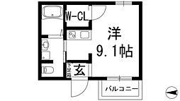 阪急宝塚本線 池田駅 徒歩10分の賃貸マンション 3階ワンルームの間取り
