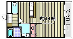 ルミー羽倉崎 2階ワンルームの間取り