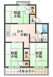 バス 女学院大学前下車 徒歩2分の賃貸アパート 2階3DKの間取り