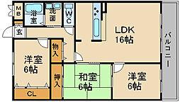 兵庫県宝塚市安倉中6丁目の賃貸マンションの間取り