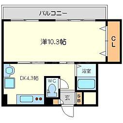 大拓ハイツ6[4階]の間取り