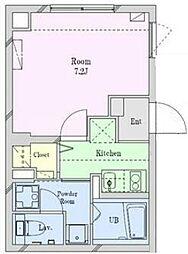 豪徳寺新築マンション 2階1Kの間取り