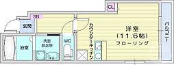 仙台市営南北線 広瀬通駅 徒歩13分の賃貸アパート 1階ワンルームの間取り