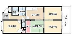 愛知県名古屋市名東区代万町2丁目の賃貸マンションの間取り