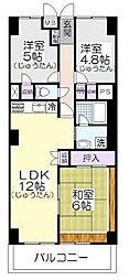 草加松原ハイツA棟[5階]の間取り