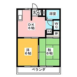大仁ハイツB[2階]の間取り