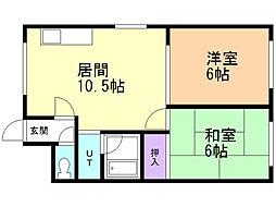 福尾ビル 2階2LDKの間取り