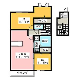 ぽるトゥ・かれん[2階]の間取り