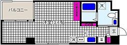 阪神本線 魚崎駅 徒歩2分の賃貸マンション 6階ワンルームの間取り