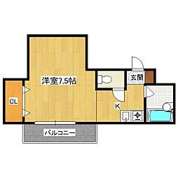 シングルハウスアトラクタービル[302号室]の間取り