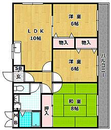 ハーモニーヒルズ藤阪[4階]の間取り