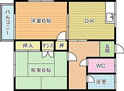 松井荘[201号室]の間取り