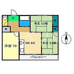 森マンション(中ノ島)[2階]の間取り