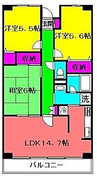 ルーチェ緑が丘C棟[202号室]の間取り