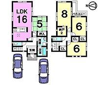 収納スペースを豊富に確保しました。並列で駐車2台可能です。