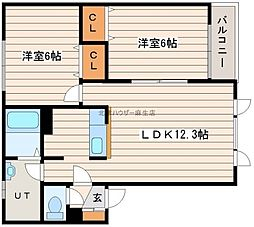 フロンティア2番館[1階]の間取り