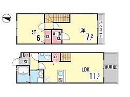 ワコーレヴィアーノ芦屋呉川町 1階2LDKの間取り