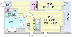 仙台市営南北線 勾当台公園駅 徒歩13分の賃貸マンション 5階1DKの間取り