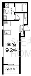 京王井の頭線 東松原駅 徒歩4分の賃貸マンション 2階ワンルームの間取り