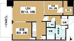 プラウドタワー堺東 13階2LDKの間取り
