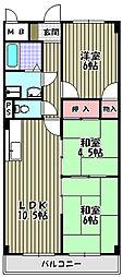 グランデージ上野芝[2階]の間取り
