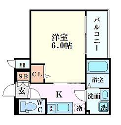 エスリード新大阪グランゲートノウス 5階1Kの間取り