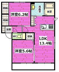 広島県広島市安佐南区伴東3丁目の賃貸アパートの間取り