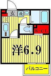 ライフタウン西新井 1階1Kの間取り