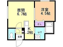 INFINITY東札幌II 4階1LDKの間取り