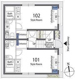 カーサデジョイアス 2階ワンルームの間取り