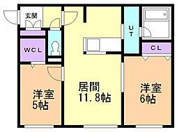 Terrace fino(テラスフィーノ) 4階2LDKの間取り
