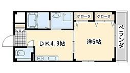 ハイネ福田2[203号室]の間取り