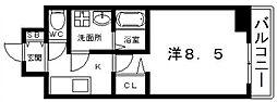 Osaka Metro谷町線 四天王寺前夕陽ヶ丘駅 徒歩7分の賃貸マンション 3階1Kの間取り