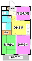 埼玉県富士見市鶴馬1丁目の賃貸マンションの間取り