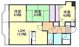 岡山県倉敷市老松町3丁目の賃貸マンションの間取り