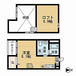 愛知県名古屋市中村区上ノ宮町1丁目の賃貸アパートの間取り