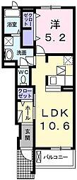エミュール 5 上四条町 瓢箪山20分[1階]の間取り