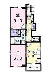広島県福山市南蔵王町5丁目の賃貸アパートの間取り