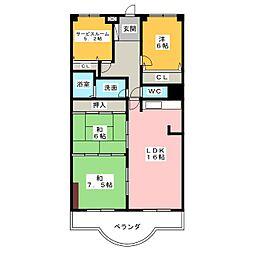 シティーコーポ植田A棟[1階]の間取り